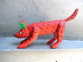 オアハカ ウッドカービング 木彫り サンチアゴファミリー  [プラシード 赤いコヨーテ]