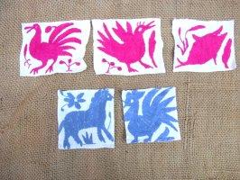オトミ刺繍 ミニファブリック [ピンク&グレイ ]  生地
