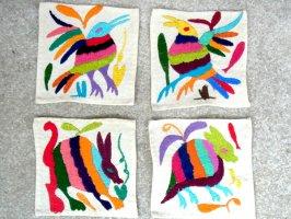 オトミ刺繍 ミニファブリック [バード&ウサギ ]  生地