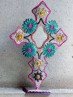 ブリキの十字架ミラー オハラタ [ベース フラワー] オアハカ