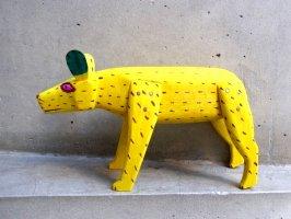 オアハカ ウッドカービング 木彫り サンチアゴ  [ジャガー イエロー] 復刻品