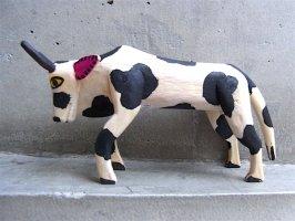 オアハカ ウッドカービング 木彫り サンチアゴ  [カリスト 待つ牛]