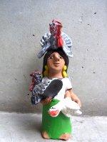 オアハカ アギラール 土人形  [ホセフィーナ 鶏売りのインディヘナ ]