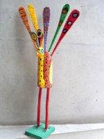 グアテマラ 木彫り人形 ウッドカービング [孔雀]