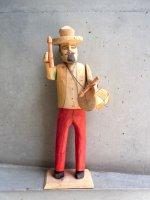 オアハカ ウッドカービング 木彫り [ラミレスファミリー 太鼓叩き] ビンテージ