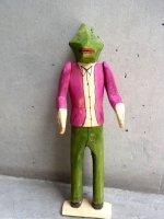オアハカ ウッドカービング 木彫り人形  [イグアナマン]  ビンテージ