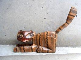 グアテマラ 木彫り人形 ウッドカービング [ナチュラル ネコ]