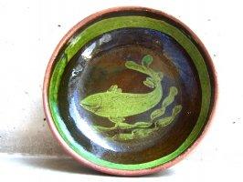 パタンバン 緑釉 陶皿  [ボウル皿 魚]