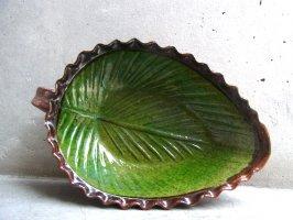 パタンバン 緑釉 陶皿  [リーフ プレート] used