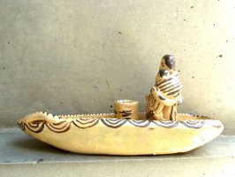 ミチョアカン 陶芸 土人形 燭台  [舟と母子像]