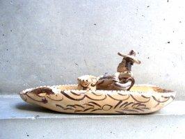 ミチョアカン 陶芸 土人形 燭台  [舟と渡し人]
