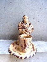 ミチョアカン 陶芸 土人形 燭台  [母と乳児]