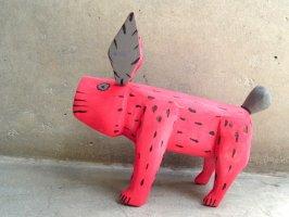 オアハカ ウッドカービング 木彫り サンチアゴ  [ウサギ レッド] Mサイズ