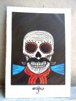 ワヒロアート パコ 版画 [ヒゲのカラベラ 死者の日 Mサイズ] wajiroart