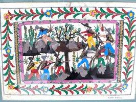 ゲレーロ アメヤルテペック アマテ絵  [山の猟師たち] ビンテージ