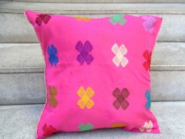 チアパス 刺繍 クッションカバー [ピンク カラコル] ララインサール