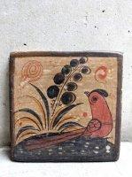 トナラ 陶芸 ブルニード [陶板 夕暮れの赤鳥] ビンテージ