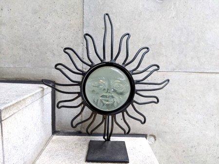 ガラス 太陽 ソル キャンドルホルダー  [サンフェイス] ビンテージ