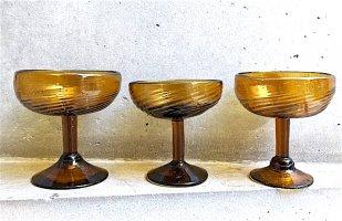 トラケパケ アンバーグラス [渦巻 カクテルグラス] ビンテージ