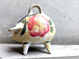 トラケパケ  陶芸 貯金箱  [ピッグバンク14cm ]  ビンテージ