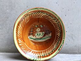 トナラ 陶器  大鉢  [ボウル ヒヨコ 23×7cm]  ビンテージ