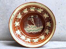 トナラ 陶器  大鉢  [ボウル 白鳥 23×7cm]  ビンテージ