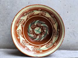 トナラ 陶器  大鉢  [ボウル 渦 23×7cm]  ビンテージ