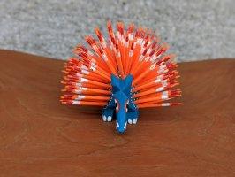 オアハカ 木彫り人形 ティルカヘテ [ヤマアラシ ブルー&オレンジ] Sサイズ