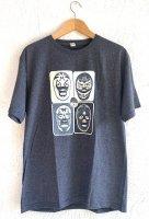ルチャリブレ マスクマン Tシャツ [マスカラス4変化 /チャコールグレー霜降り]M,L,XLサイズ