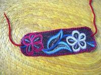 チアパス 刺繍 リストバンド [レッド&イエローフラワー]  マヤ