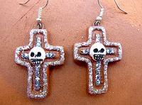 カラベラ がいこつ ピアス アクセサリー [クルス] 十字架 ブラウン