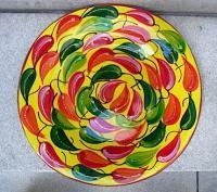 メキシコ 陶器 ペイント プレート ビッグサイズ  [イエローチレ]