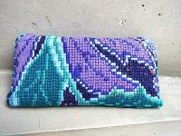 チアパス 刺繍 ポーチ ウォレット [パープル&グリーン] シナカンタン