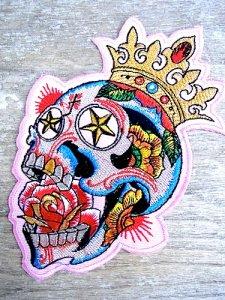 ワッペン アイロン 刺繍 メキシコ [カラベラ コロナ] チカーノ