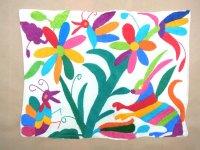 メキシコ オトミ 刺繍 クッションカバー  [ウサギ チョウ] ハンドメイド