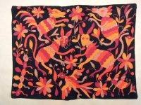 メキシコ オトミ 刺繍 クッションカバー  [ブラック オレンジ] ハンドメイド