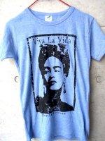 フリーダ スタンプ Tシャツ [Viva la vida] ヘザーブルー