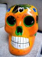 ガイコツ 陶器 カラベラ がいこつ 置物 [ビッグサイズ  オレンジ]
