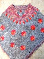 チアパス ウールポンチョ [グレー オレンジ刺繍] チアパス