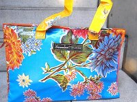 センサシオナル オイルクロス バッグ ボックス「イスラ ブルー&オレンジ」