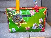 センサシオナル オイルクロス バッグ ボックス「イスラ グリーン&オレンジ」