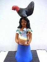 アギラール 陶器人形 [雌鳥とインディヘナ] 民芸 フォークアート