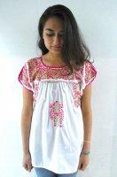 レディース 刺繍 チュニック [ホワイト ピンク]サンアントニーノ