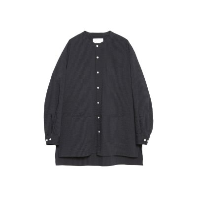 POLYESTER COTTON NO COLLAR SHIRT / BLACK