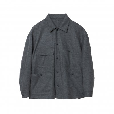 SUPER110's SUPER FINE WOOL CPO SHIRT / GREY