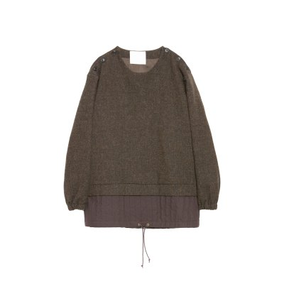 MOON SHETLAND WOOL LAYERED PULLOVER / BROWN