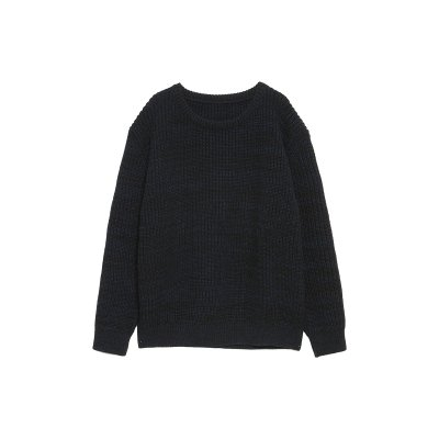 EXTRA FINE LAMB WOOL SPRINKLED KNIT / NAVY