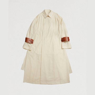 <img class='new_mark_img1' src='https://img.shop-pro.jp/img/new/icons47.gif' style='border:none;display:inline;margin:0px;padding:0px;width:auto;' />RAGLAN SLEEVED  OVER COAT/ IVORY STRIPE × ACC : UMBER