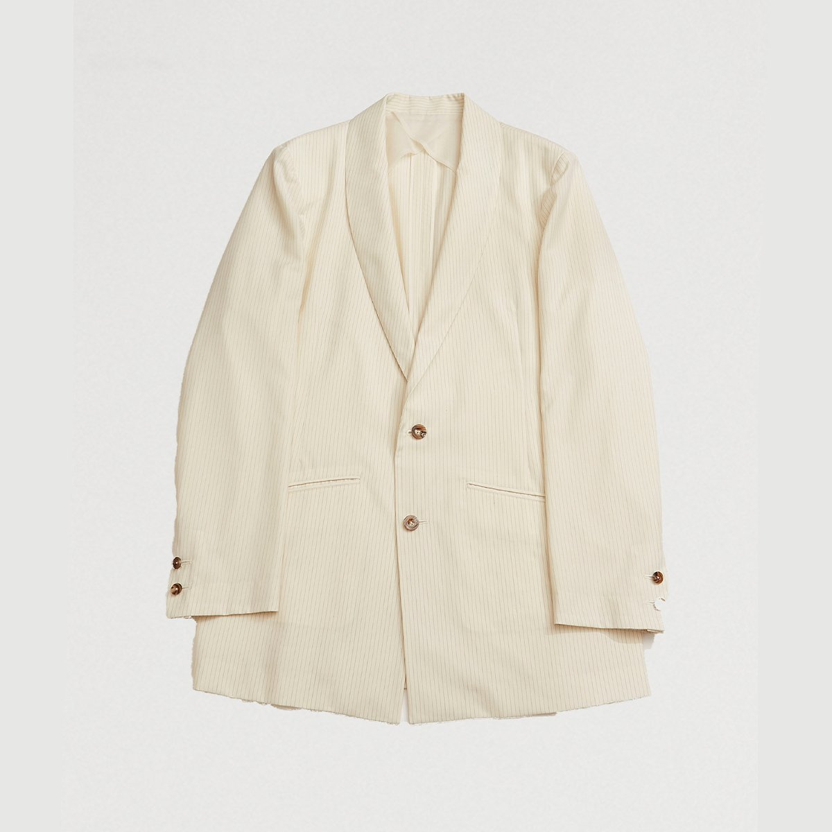 <img class='new_mark_img1' src='https://img.shop-pro.jp/img/new/icons47.gif' style='border:none;display:inline;margin:0px;padding:0px;width:auto;' />SHAWL COLLAR JACKET / IVORY STRIPE