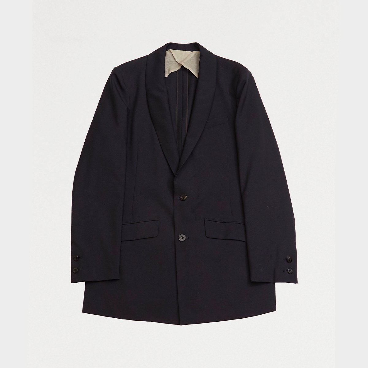 <img class='new_mark_img1' src='https://img.shop-pro.jp/img/new/icons5.gif' style='border:none;display:inline;margin:0px;padding:0px;width:auto;' />SHAWL COLLAR JACKET / NAVY